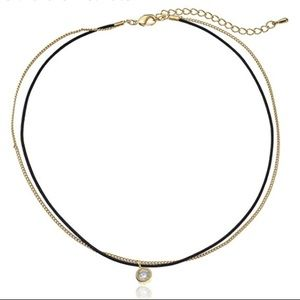 jules smith // leather and gold crystal choker